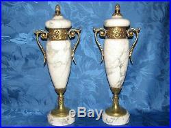 02g3 Ancienne Paire Cassolettes Marbre Blanc Veine Bronze Dore Style Louis XVI