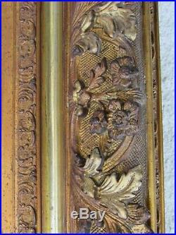 04F41 ANCIEN ÉNORME CADRE MIROIR BOIS ET STUC DORE FEUILLE STYLE LOUIS XVI XIXe