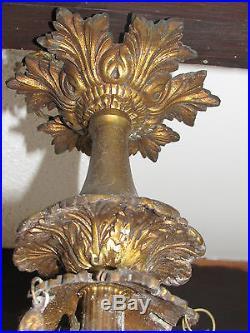 05c2 Ancien Lustre Bronze Doré Style Louis XVI Angelots Vasque En Pate De Verre