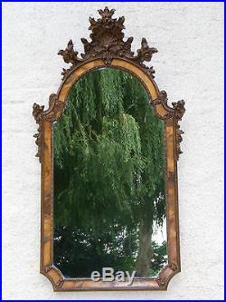 08b52 Ancien Grand Miroir Haut 1,20 M Rococo Résine Style Louis XV XVI Rocaille