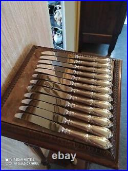 12 Couteaux à Entremets Orfèvrerie SFAM Style Louis XVI