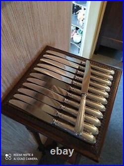 12 Couteaux de Table Style Louis XVI Métal Argenté