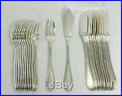 12 couverts à poisson, 24 pièces, style louis XVI, Rubans, métal argenté