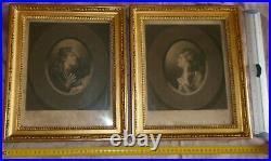 2 cadres bois & stuc doré style Louis XVI + gravures XVIIIème peintre D. GARDNER