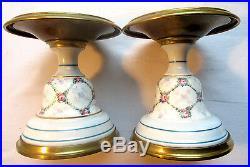 2 supports de lampe à pétrole, laiton et porcelaine de Paris style Louis XVI