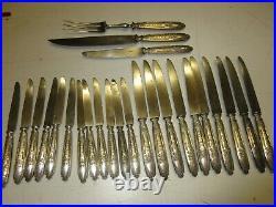 23 Couteaux+2 Couverts de Service Manches ARGENT MASSIF, MINERVEstyle LOUIS XVI