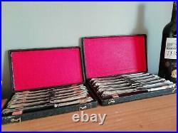 24 couteaux anciens en Argent Fourré style Louis XVI avec boîtes