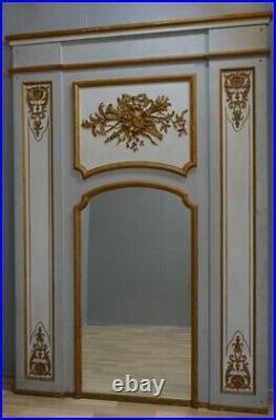 253174 Cm, Très Grand Trumeau De Style Louis XVI En Bois Laqué Et Doré, XX ème
