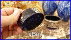 3 Salerons XVIII ème, Argent Massif Et Verre Bleu De Style Louis XVI