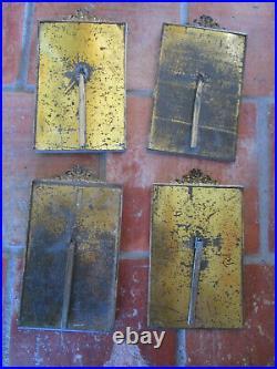 4 anciens cadres Bronze doré Laiton style Louis XVI