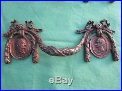 4 poignées 2 entrées style Louis XVI laiton noeuds meuble tiroir commode ancien