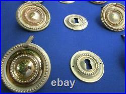 6 poignées anneaux 3 entrées style Louis XVI laiton copie tiroirs commode 6 cm