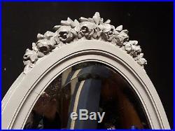 ANCIEN PSYCHÉ STYLE LOUIS XVI en bois patiné gris shabby coiffeuse miroir 19 ème