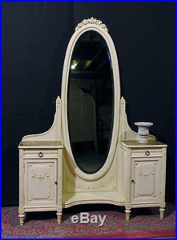 ANCIEN PSYCHÉ STYLE LOUIS XVI en bois patiné shabby coiffeuse miroir 19 ème