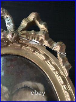 ANCIENNE PEINTURE SUR PORCELAINE LES DEUX SOEURS EPOQUE 1900 style louis xvi