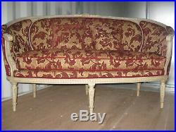 Ancien Canapé Corbeille De Style Louis XVI En Bois Peint