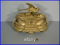 Ancien Coffret A Bijoux En Bronze Style Louis XVI Décor Oiseau Signé Moigniez