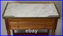 Ancien Console desserte 2 tiroirs en acajou dessus marbre style Louis XVI