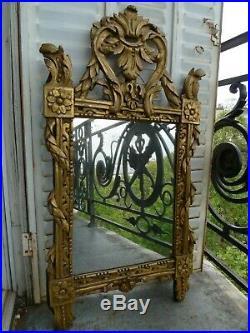 Ancien Miroir Style Louis XVI Bois Dore Sculpte Debut XIX Siecle