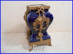 Ancien Petit Vase Porcelaine Bleu Sevres Monture Bronze Doré Style Louis XVI