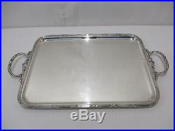 Ancien Plateau Metal Argente Style Louis XVI Poincon Orbrille Silver Plated Tray