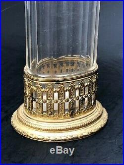 Ancien Vase Baccarat Verre Et Monture Bronze Doré Style Louis XVI