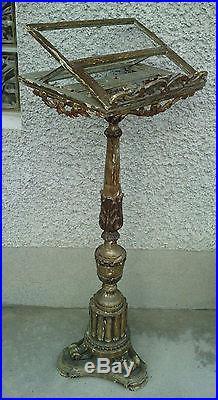 Ancien lutrin 19 eme siecle bois sculpté doré argenté style louis XVI directoire