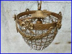 Ancien superbe lustre montgolfière style louis XVI 19 ème en bronze + pampilles