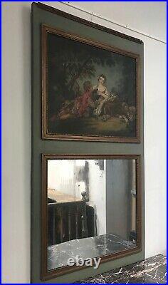 Ancien trumeau miroir vert et or d'époque Art déco Style Louis XVI beau tableau
