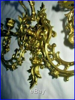 Ancienne Applique En Bronze Dore Style Louis XV 3 Bras De Lumiere Rocaille