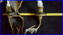 Ancienne Belle PAIRE D'APPLIQUES DOUBLE Bronze Doré style LOUIS XVI 2 feux