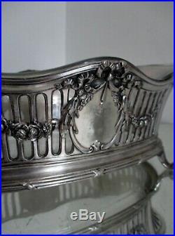 Ancienne Jardinière Centre De Table Métal Argenté Et Verre Style Louis XVI