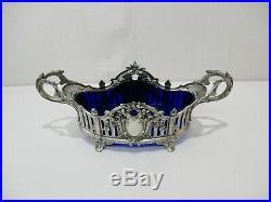 Ancienne Jardiniere Centre De Table Regule Argente Et Verre Bleu Style Louis XVI