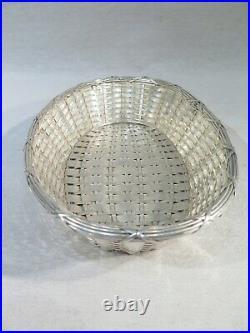 Ancienne Jolie Corbeille Paniere Ovale Metal Argente Tressee Style Louis XVI