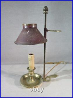 Ancienne Jolie Petite Lampe Bouillotte Abat Jour En Tole De Style Louis XVI