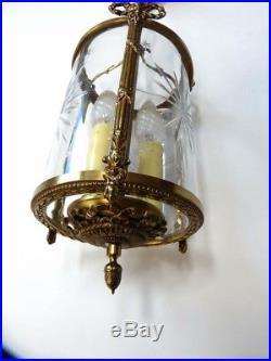 Ancienne Lanterne Lustre Vestibule Hall Bronze Doré Verre Taillé Style LOUIS XVI