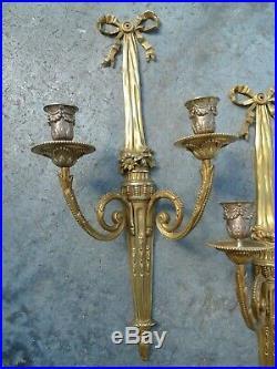 Ancienne Paire Appliques 2 Bras Bronze Style Louis XVI 1ere Moitie XX Siecle