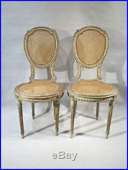 Ancienne Paire De Petites Chaises De Chambre En Bois Laque Canne Style Louis XVI