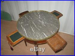 Ancienne Table A Jeu Bouillote En Merisier Style Louis XVI