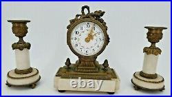 Ancienne garniture de cheminée miniature style Louis XVI, Napoléon III horloge
