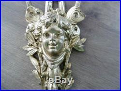 Ancienne paire d'appliques en bronze doré style Louis XVI décors ange