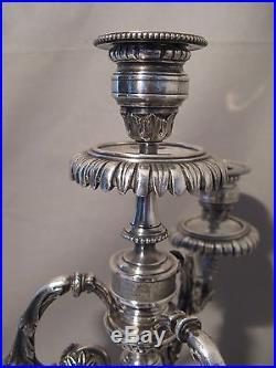 Ancienne paire de candélabres style Louis XVI métal argenté époque XIX siècle