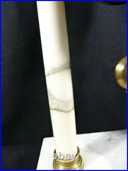 Ancienne pendule de cheminée avec ses pendants style Louis XVI à colonnes XIXéme