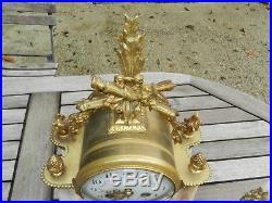 Ancienne pendule portique marbre bronze style LOUIS XVI 19ème Garniture Cheminée