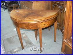 Ancienne table demi lune gueridon en noyer de style louis XVI et a jeux 19 eme
