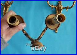 Antique Applique de Style Louis XVI Bronze Doré Chandelier Double avec bougie