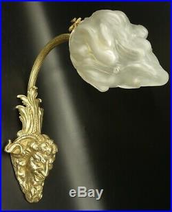 Applique, Tête De Satyre, Style Louis XVI Tulipe Verre De Sèvres & Bronze