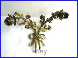 Applique double style Louis XVI bouquet de roses laiton doré + 2 tulipes Roses