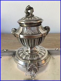 Argent massif Splendide Encrier 19ème siècle second Empire style Louis XVI