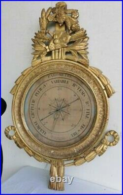 BAROMETRE XVIIIe 18 au MERCURE Style LOUIS XVI D'apres TORRICELI Stuc Dore Art